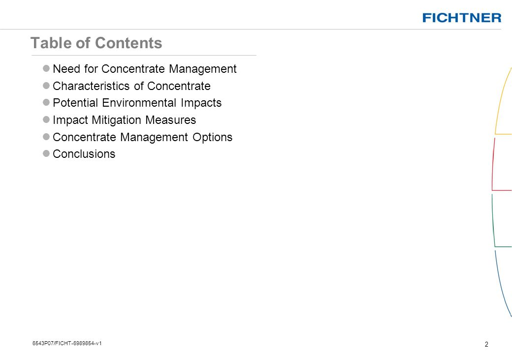 Table of Contents Need for Concentrate Management