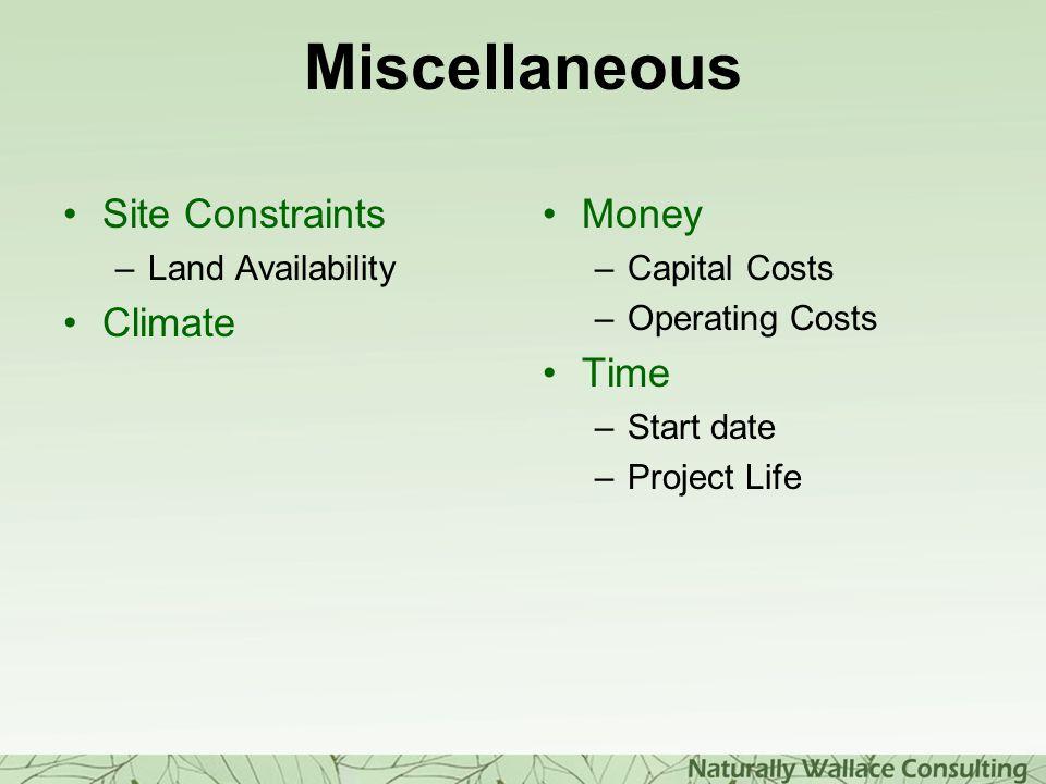 Miscellaneous Site Constraints Climate Money Time Land Availability