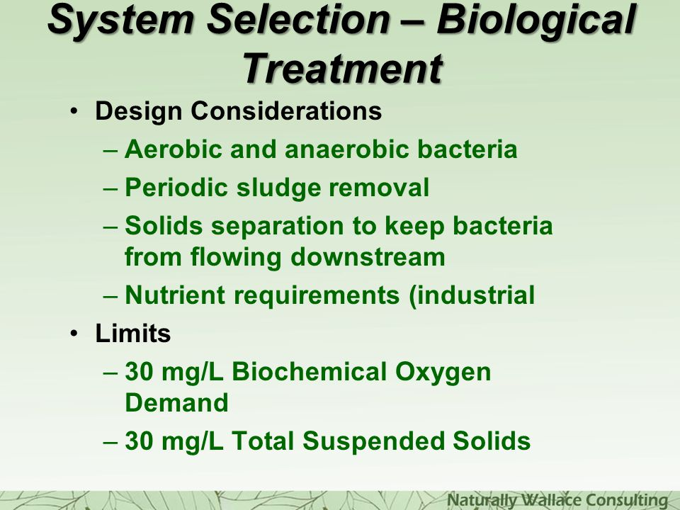System Selection – Biological Treatment
