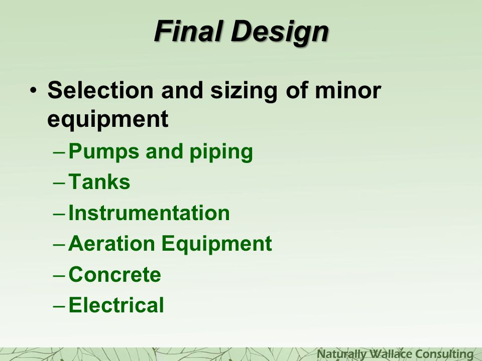 Final Design Selection and sizing of minor equipment Pumps and piping