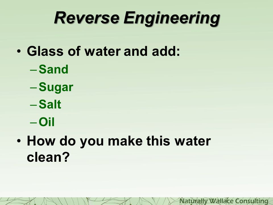 Reverse Engineering Glass of water and add: