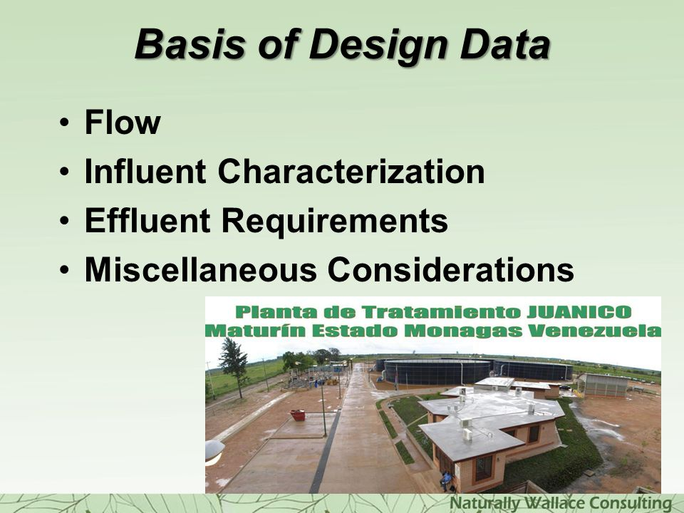 Basis of Design Data Flow Influent Characterization