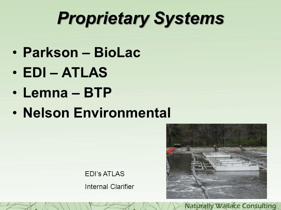 Proprietary Systems Parkson – BioLac EDI – ATLAS Lemna – BTP