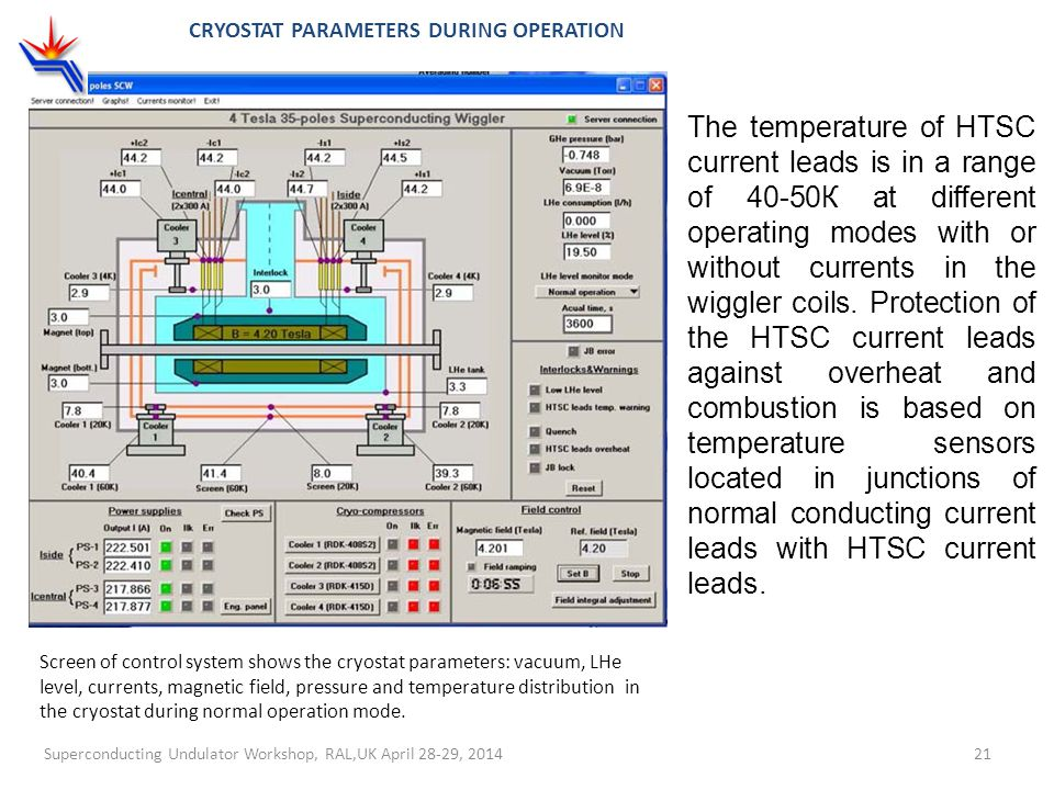 Cryostat parameters during operation