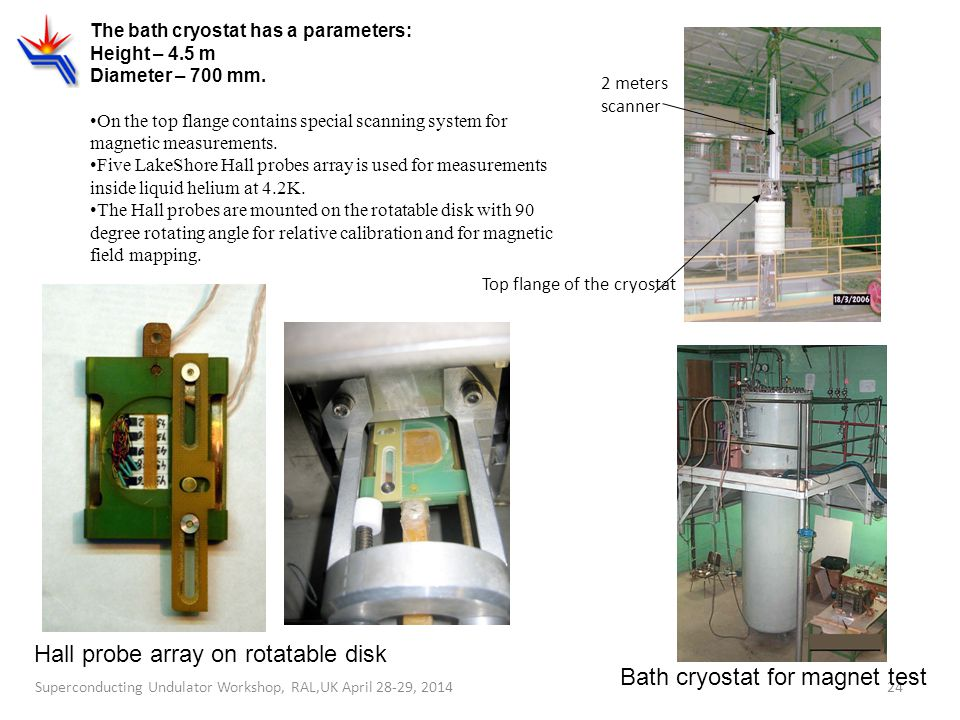 Hall probe array on rotatable disk Bath cryostat for magnet test