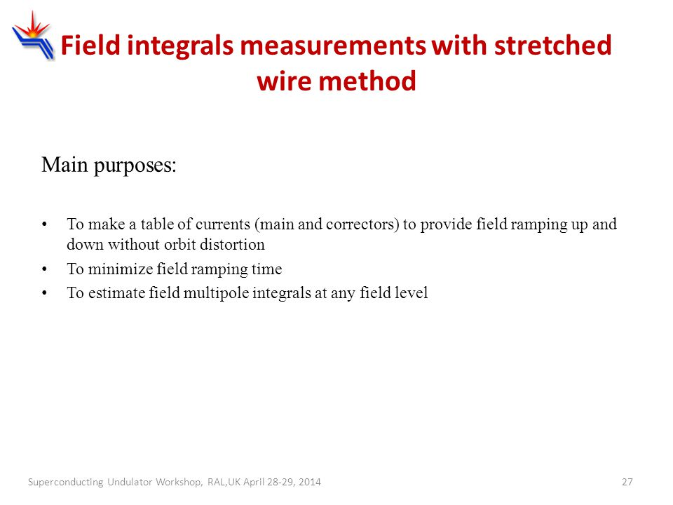 Field integrals measurements with stretched wire method