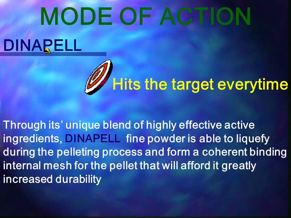 MODE OF ACTION DINAPELL Hits the target everytime