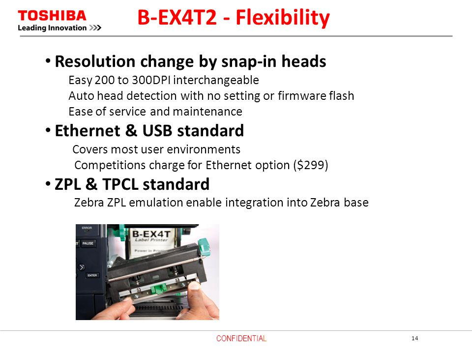 B-EX4T2 - Flexibility Resolution change by snap-in heads