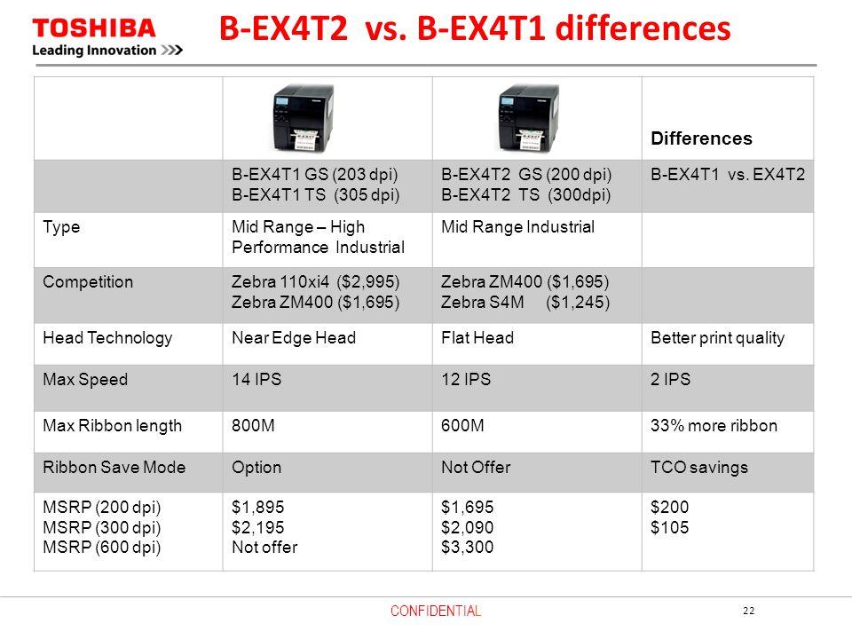 B-EX4T2 vs. B-EX4T1 differences