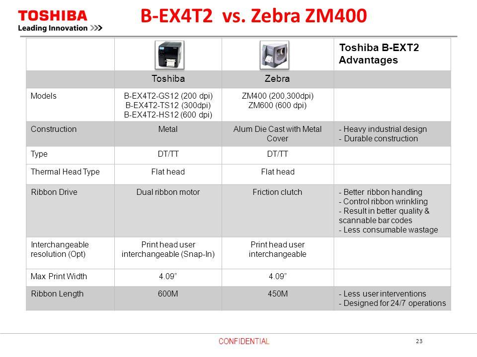B-EX4T2 vs. Zebra ZM400 Toshiba B-EXT2 Advantages Toshiba Zebra Models