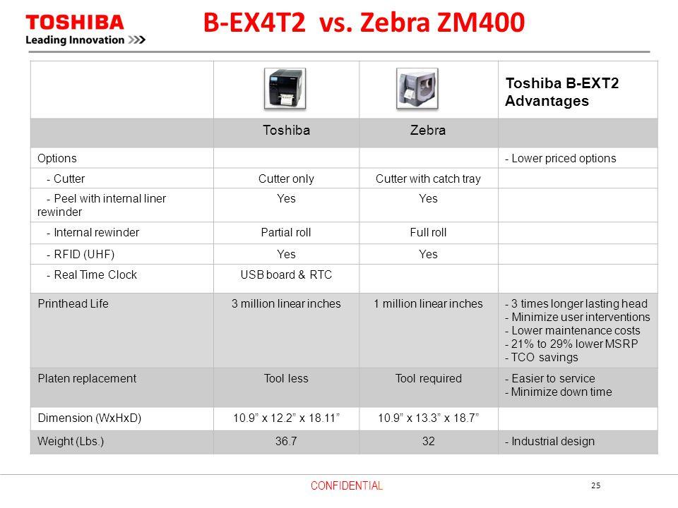 B-EX4T2 vs. Zebra ZM400 Toshiba B-EXT2 Advantages Toshiba Zebra