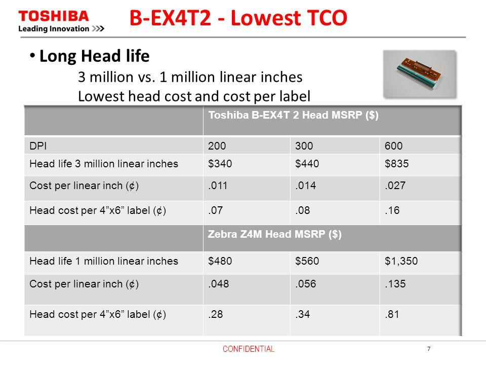 B-EX4T2 - Lowest TCO Long Head life
