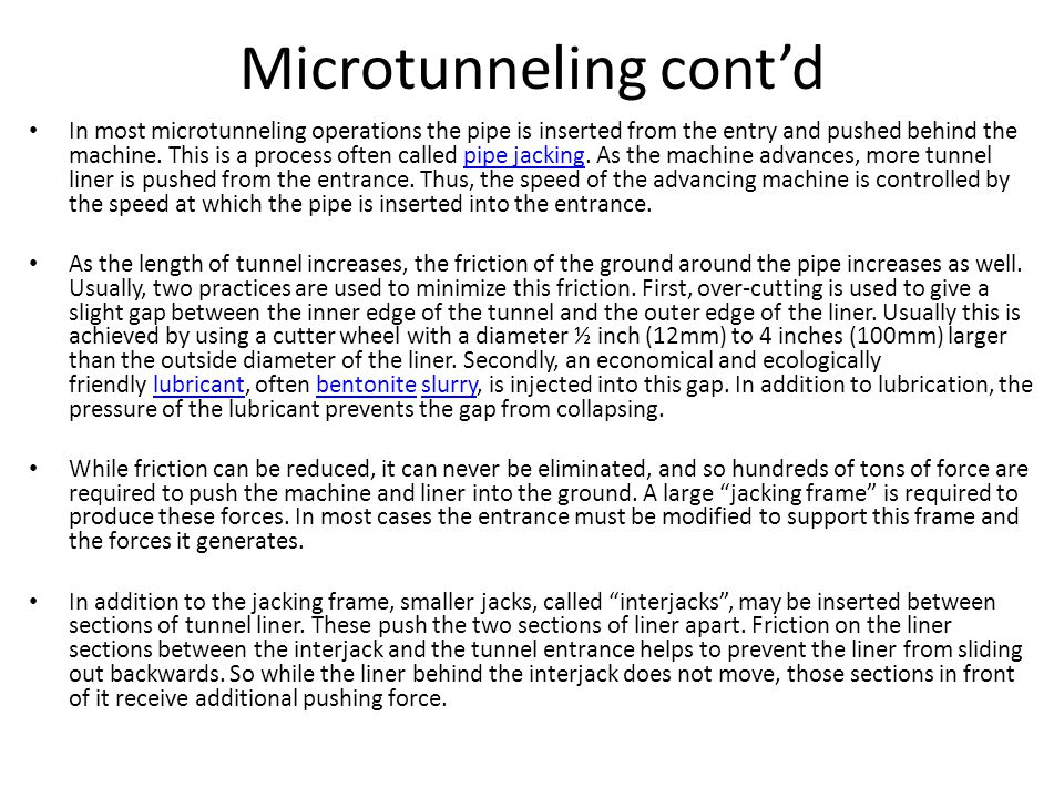 Microtunneling cont'd