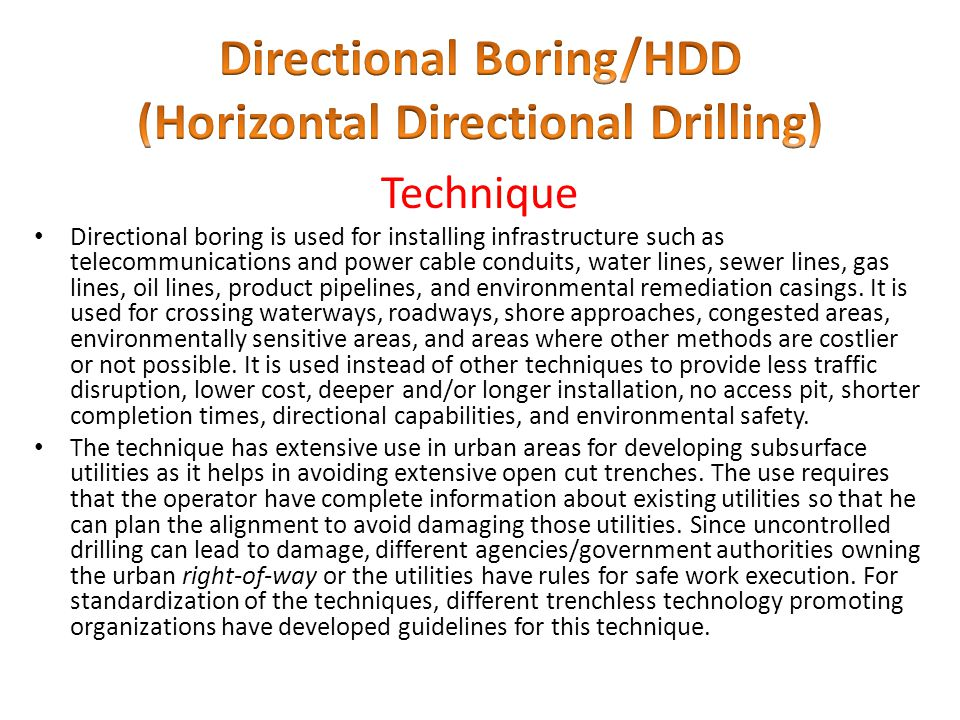 Directional Boring/HDD (Horizontal Directional Drilling)