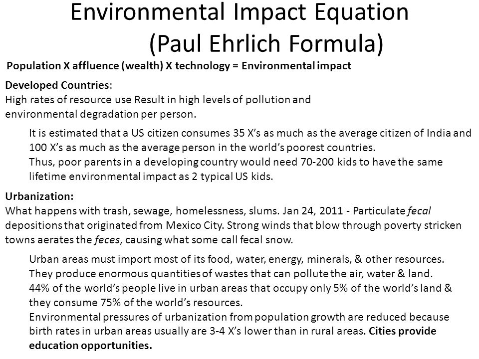 Environmental Impact Equation (Paul Ehrlich Formula)