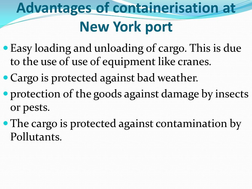 Advantages of containerisation at New York port