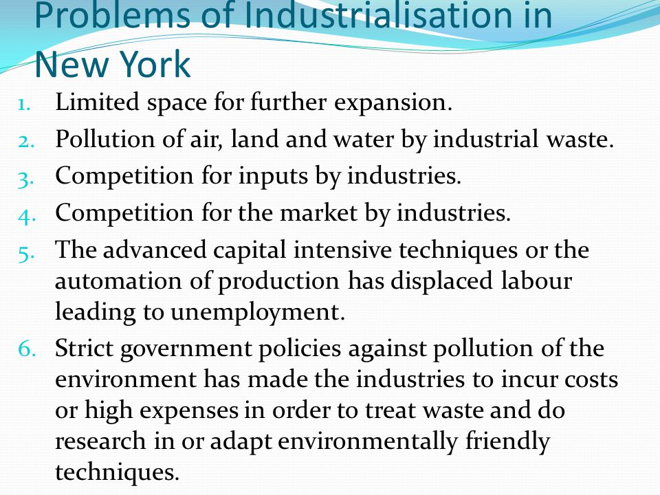 Problems of Industrialisation in New York