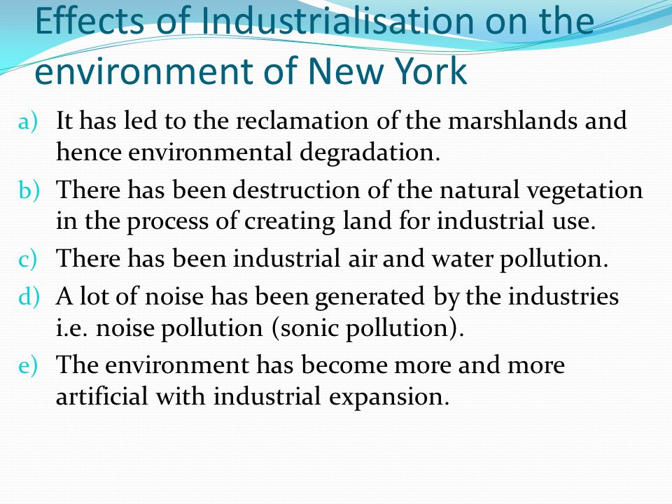 Effects of Industrialisation on the environment of New York