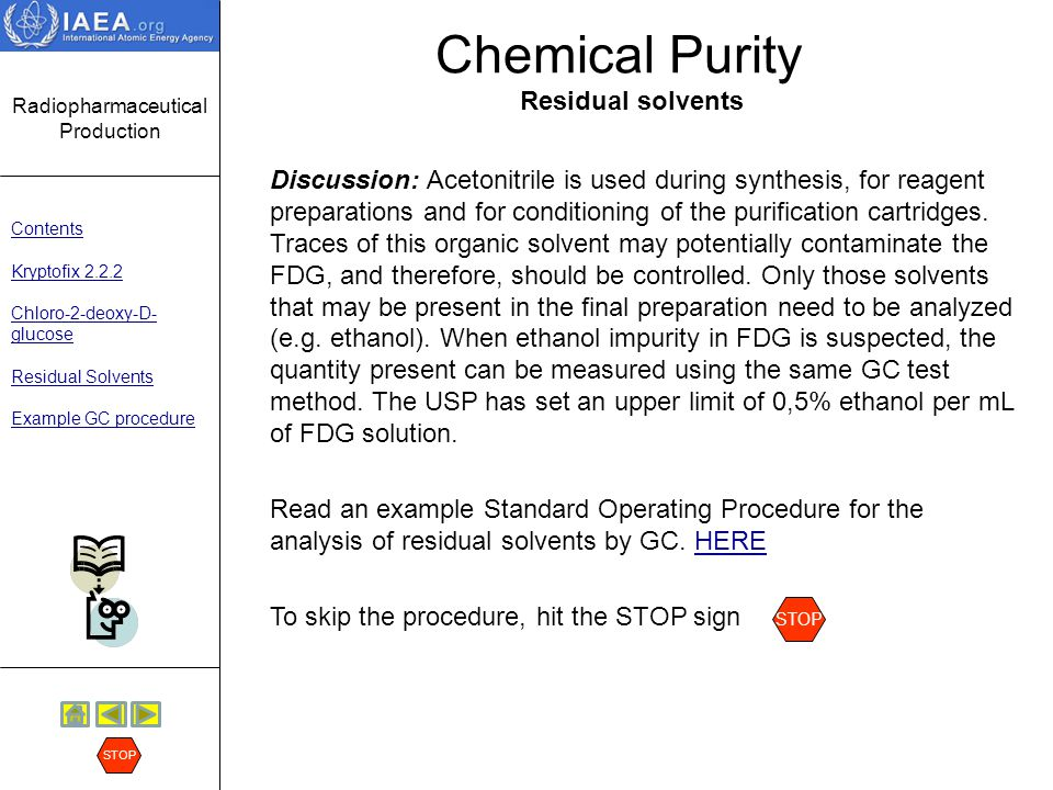 Chemical Purity Residual solvents