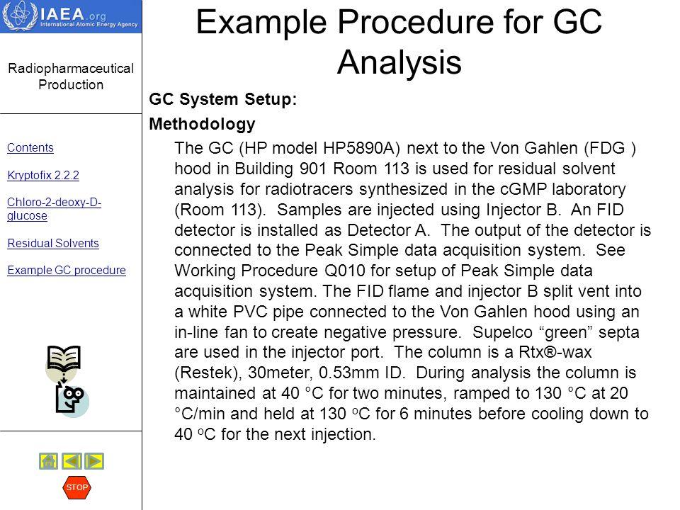 Example Procedure for GC Analysis