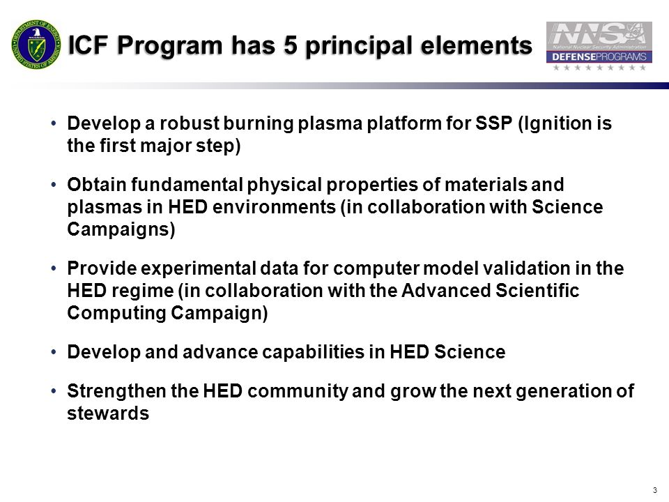 ICF Program has 5 principal elements