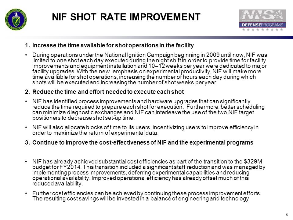 NIF SHOT RATE IMPROVEMENT