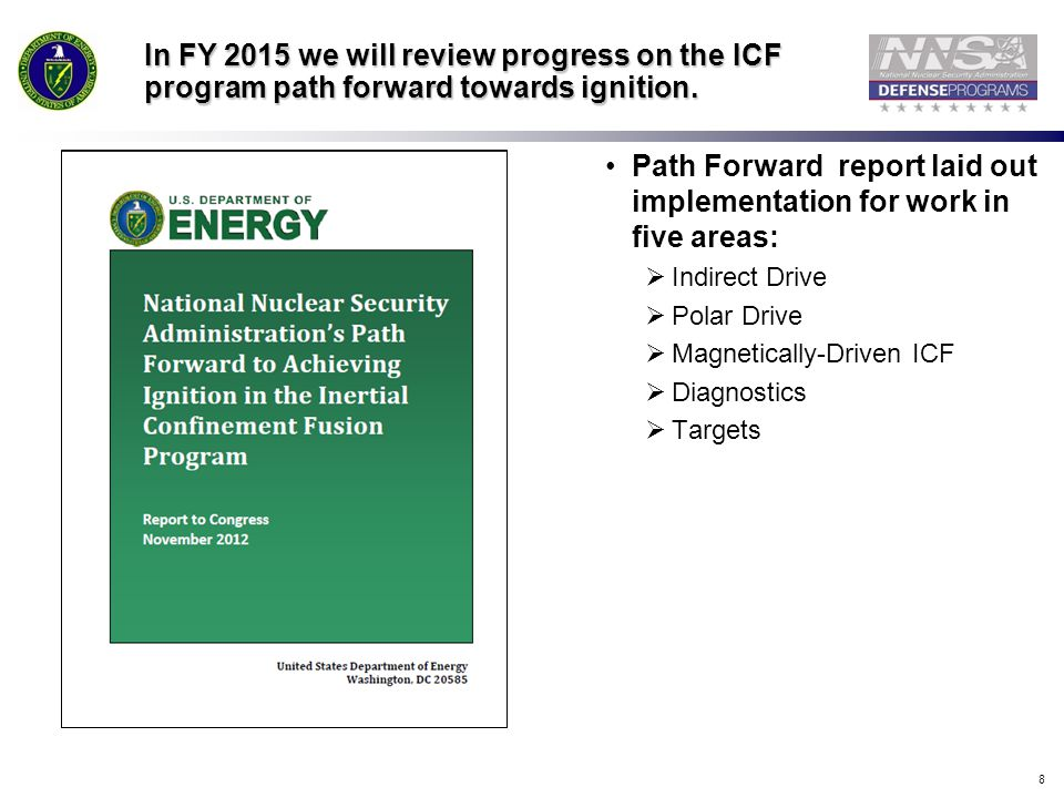Path Forward report laid out implementation for work in five areas: