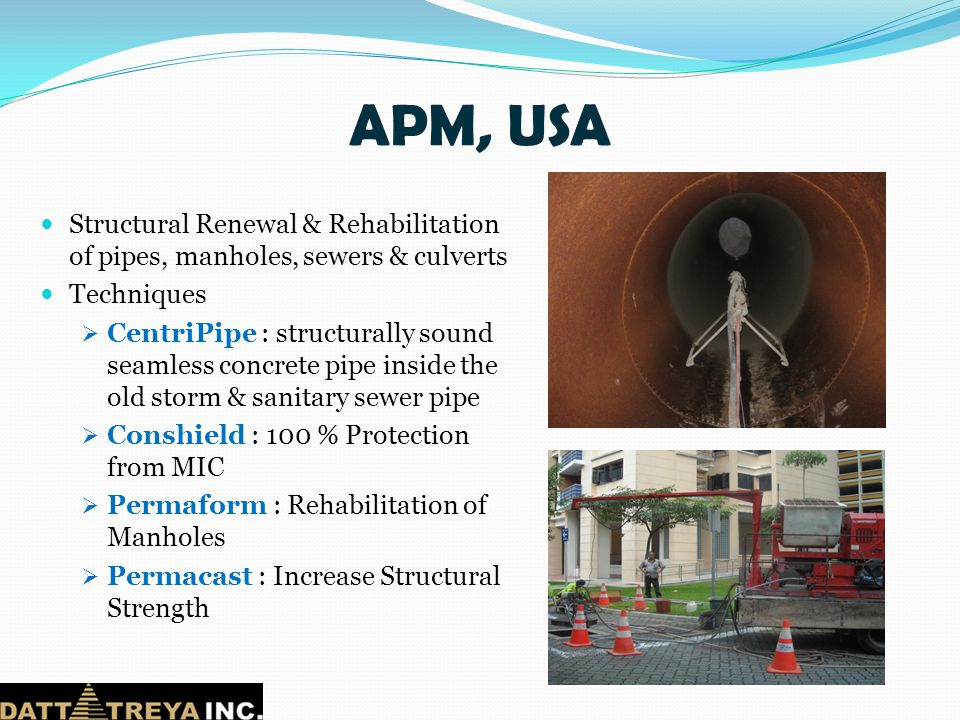 APM, USA Structural Renewal & Rehabilitation of pipes, manholes, sewers & culverts. Techniques.