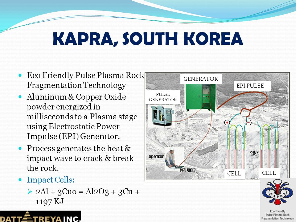 KAPRA, SOUTH KOREA Eco Friendly Pulse Plasma Rock Fragmentation Technology.