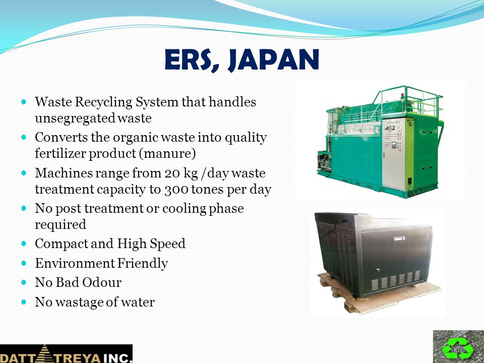 ERS, JAPAN Waste Recycling System that handles unsegregated waste