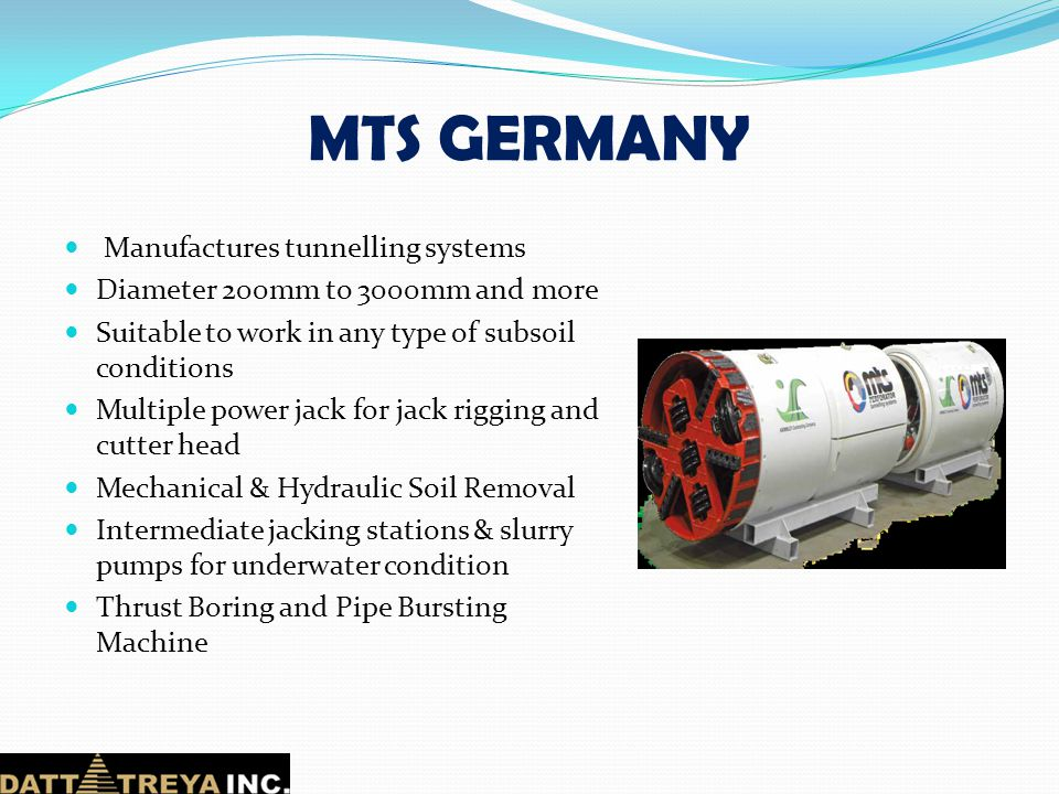 MTS GERMANY Manufactures tunnelling systems