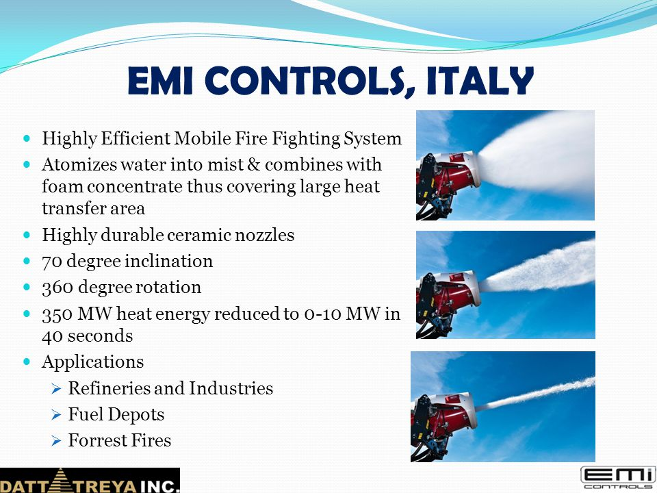 EMI CONTROLS, ITALY Highly Efficient Mobile Fire Fighting System