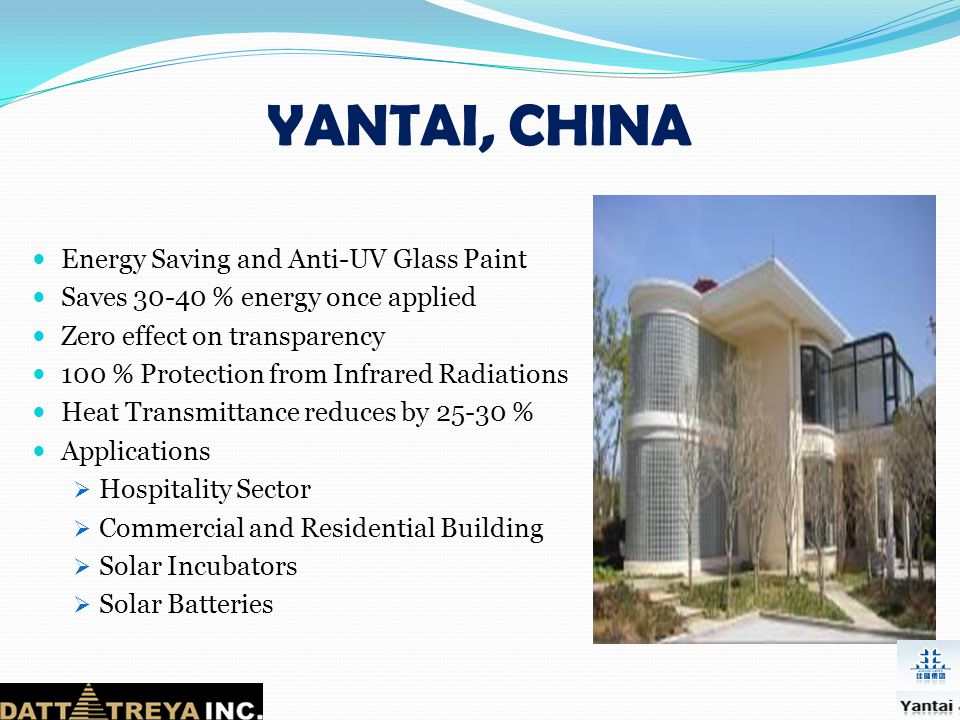 YANTAI, CHINA Energy Saving and Anti-UV Glass Paint
