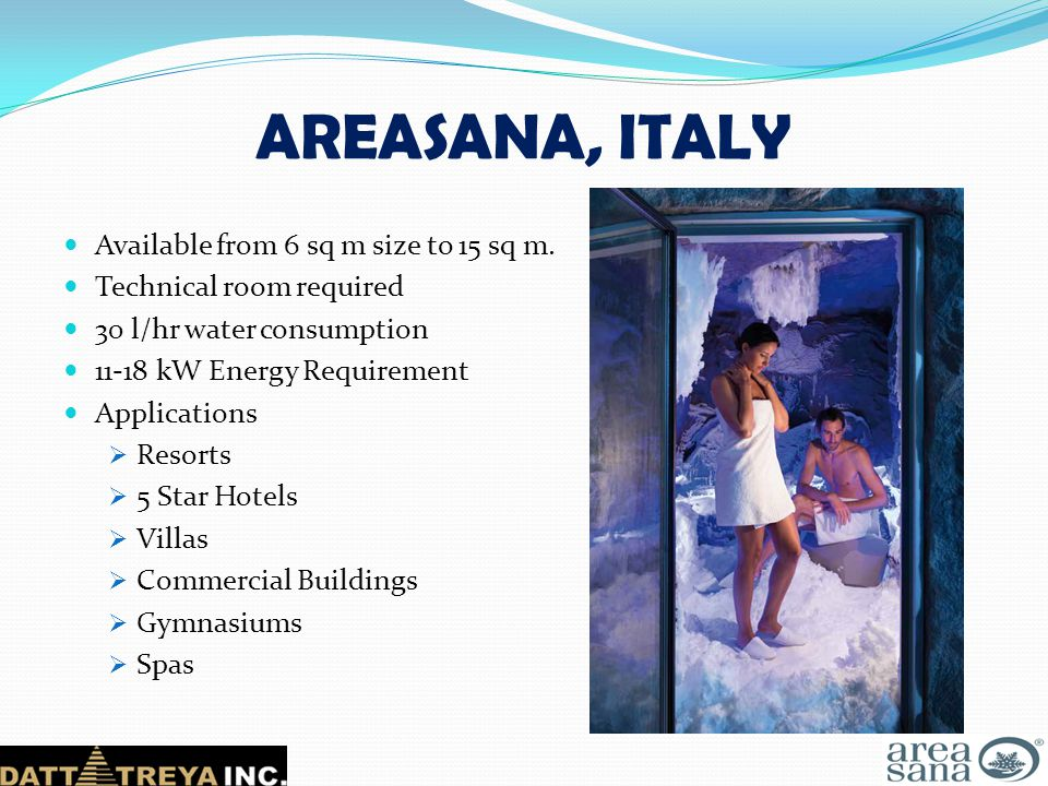 AREASANA, ITALY Available from 6 sq m size to 15 sq m.