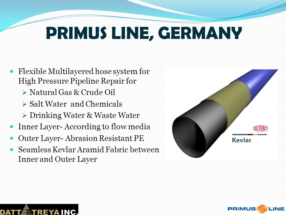 PRIMUS LINE, GERMANY Flexible Multilayered hose system for High Pressure Pipeline Repair for. Natural Gas & Crude Oil.