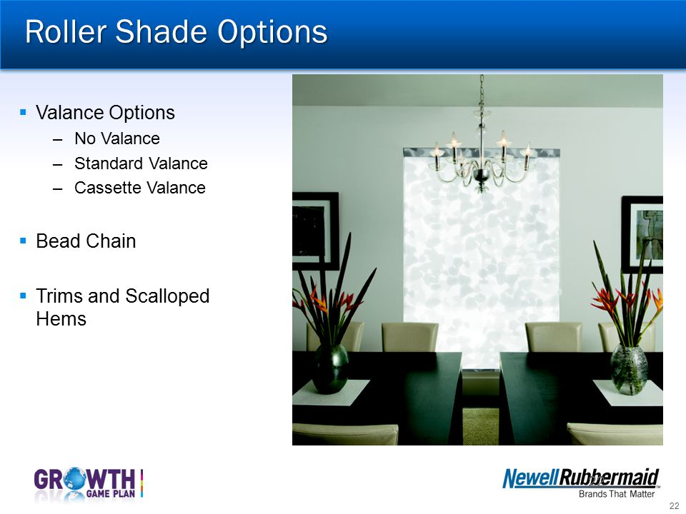 Roller Shade Options Valance Options Bead Chain