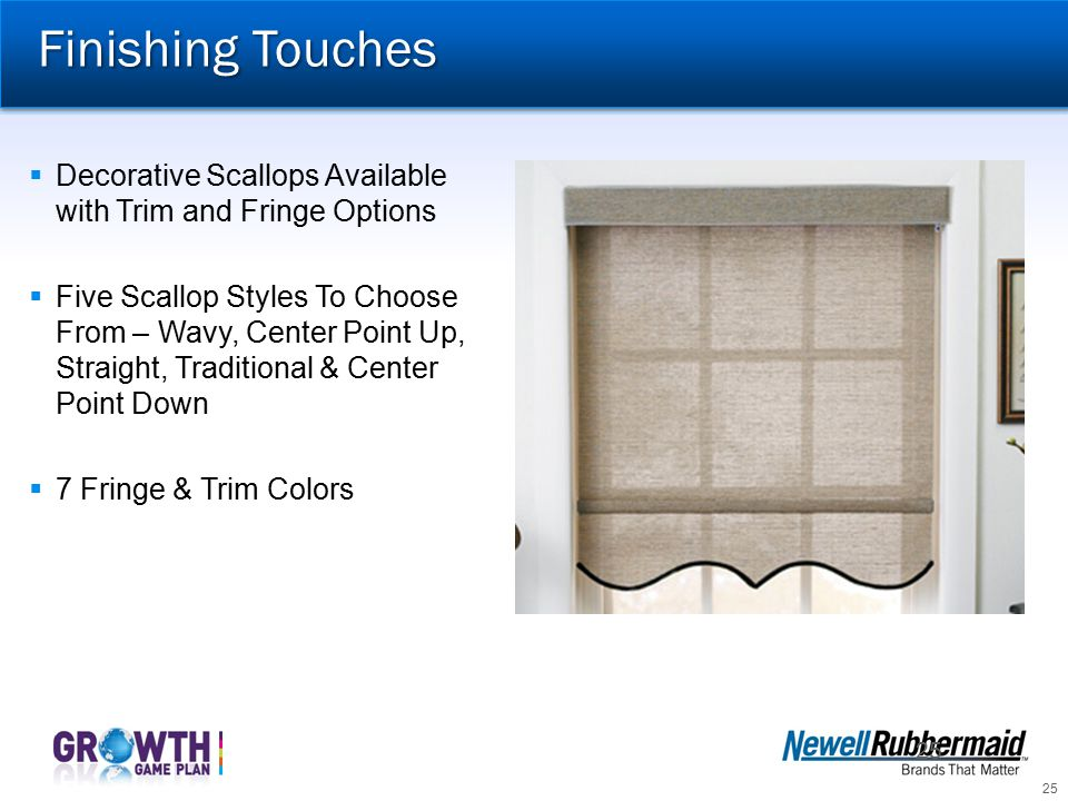 Finishing Touches Decorative Scallops Available with Trim and Fringe Options.