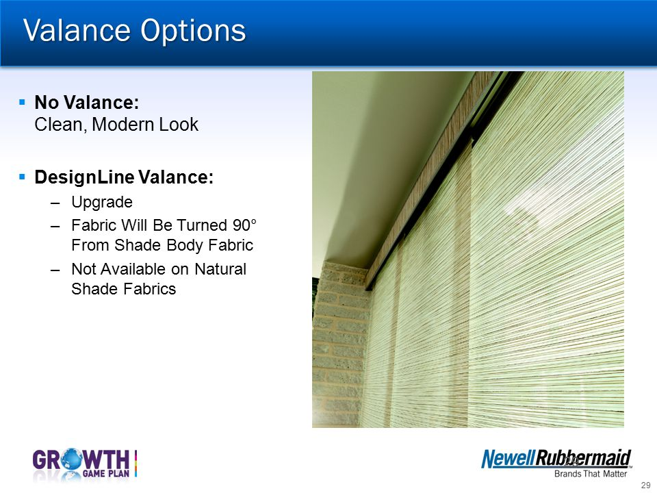 Valance Options No Valance: Clean, Modern Look DesignLine Valance: