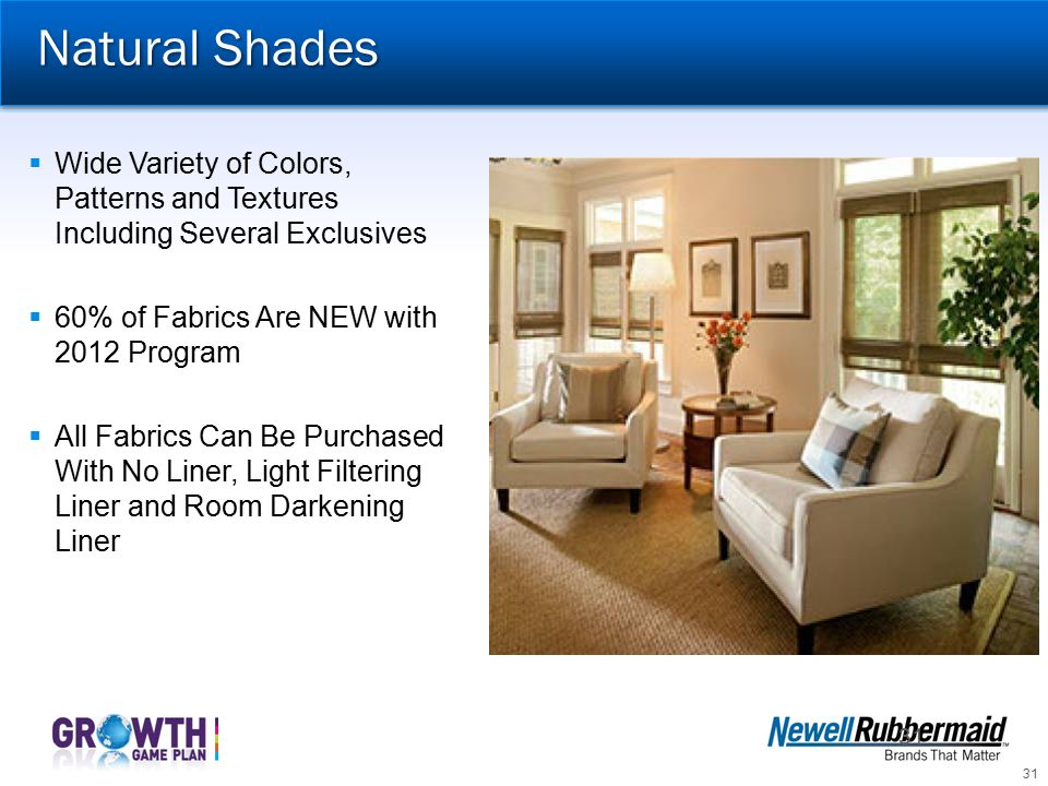 Natural Shades Wide Variety of Colors, Patterns and Textures Including Several Exclusives. 60% of Fabrics Are NEW with 2012 Program.