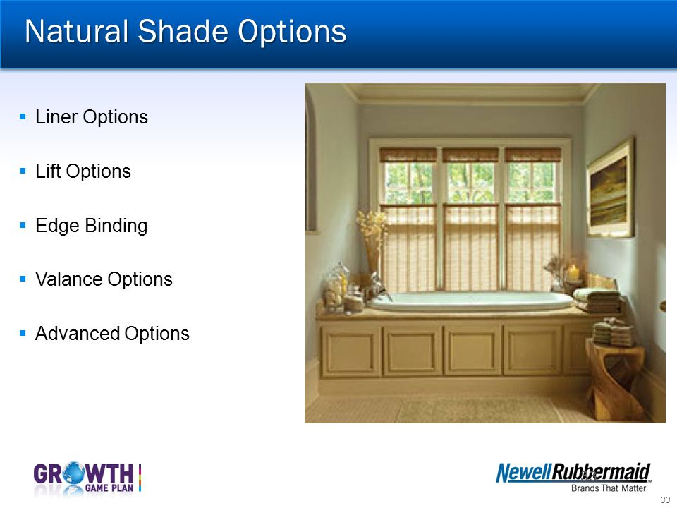 Natural Shade Options Liner Options Lift Options Edge Binding