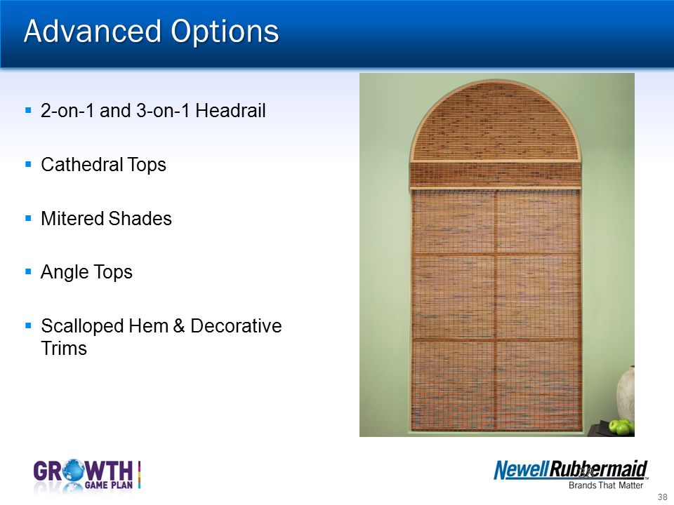 Advanced Options 2-on-1 and 3-on-1 Headrail Cathedral Tops