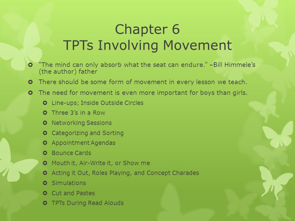 Chapter 6 TPTs Involving Movement