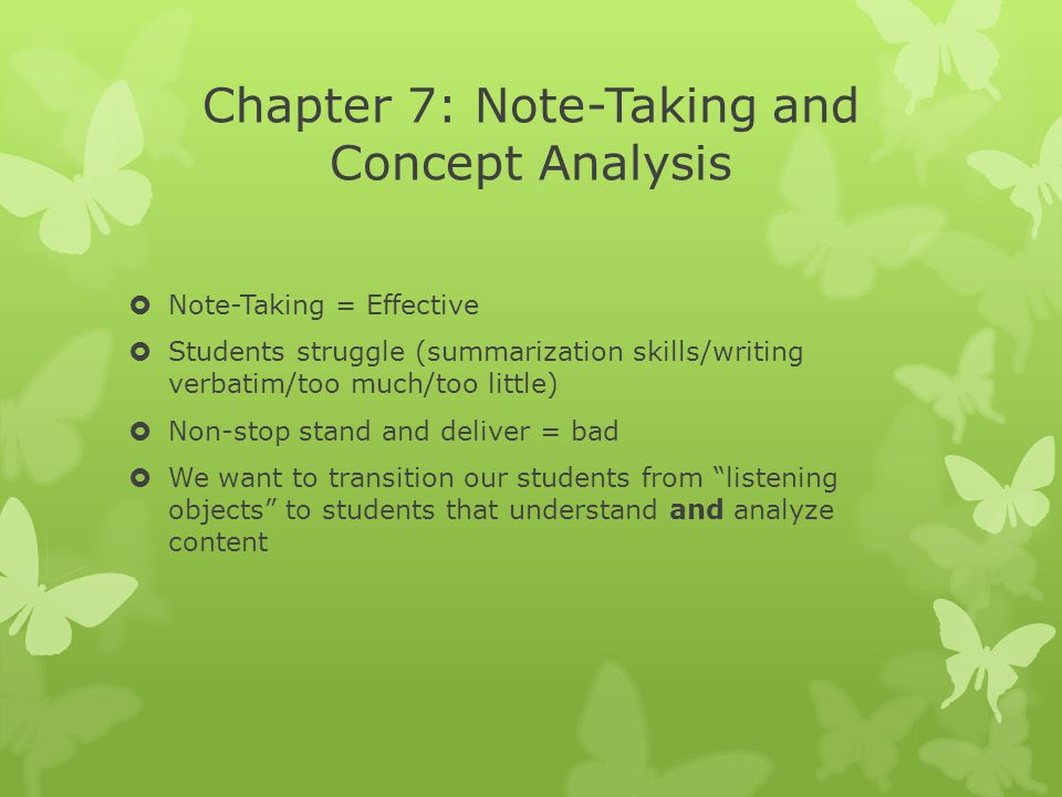 Chapter 7: Note-Taking and Concept Analysis