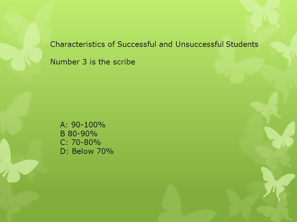 Characteristics of Successful and Unsuccessful Students