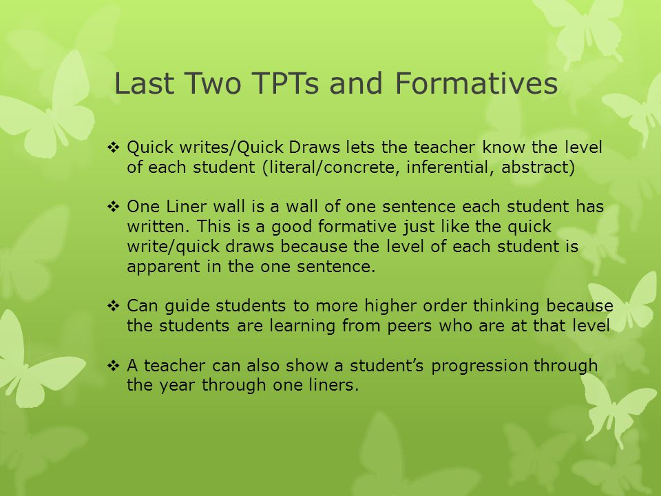 Last Two TPTs and Formatives