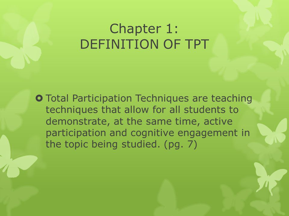 Chapter 1: DEFINITION OF TPT