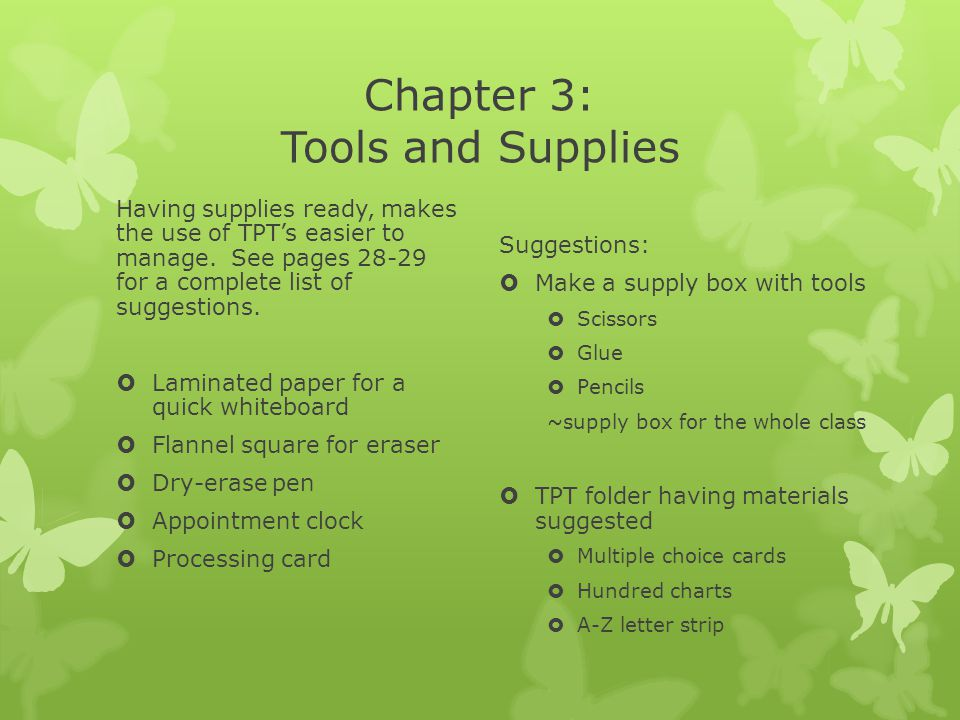 Chapter 3: Tools and Supplies