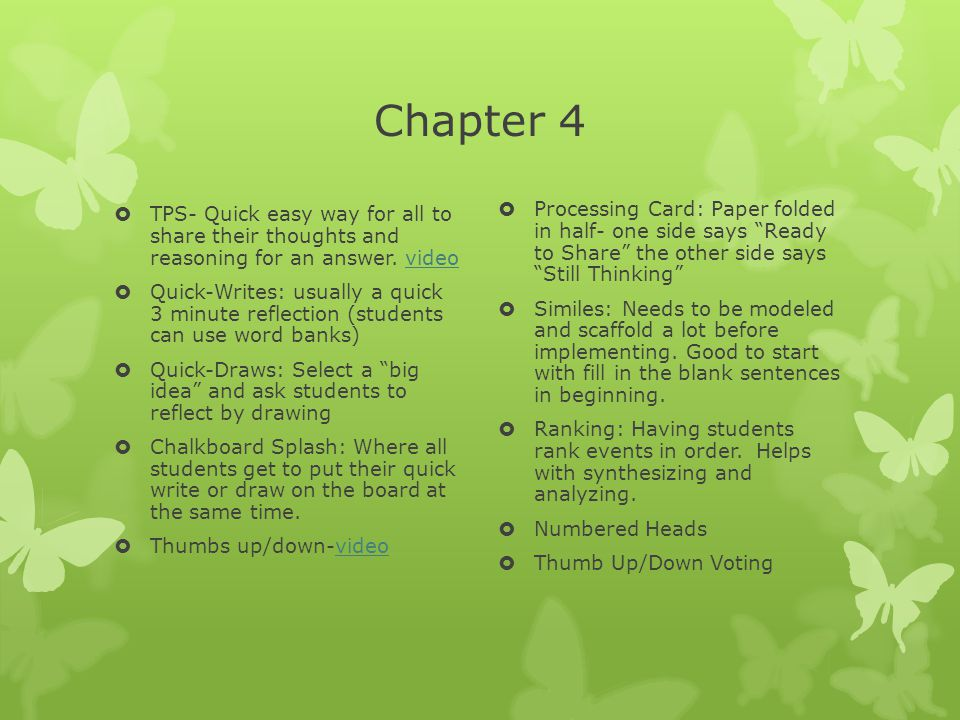 Chapter 4 TPS- Quick easy way for all to share their thoughts and reasoning for an answer. video.
