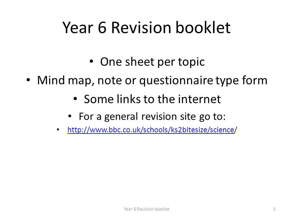 Year 6 Revision booklet One sheet per topic