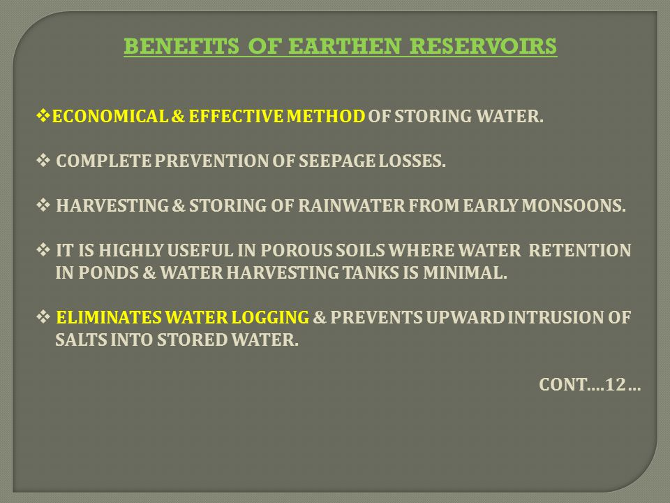 BENEFITS OF EARTHEN RESERVOIRS